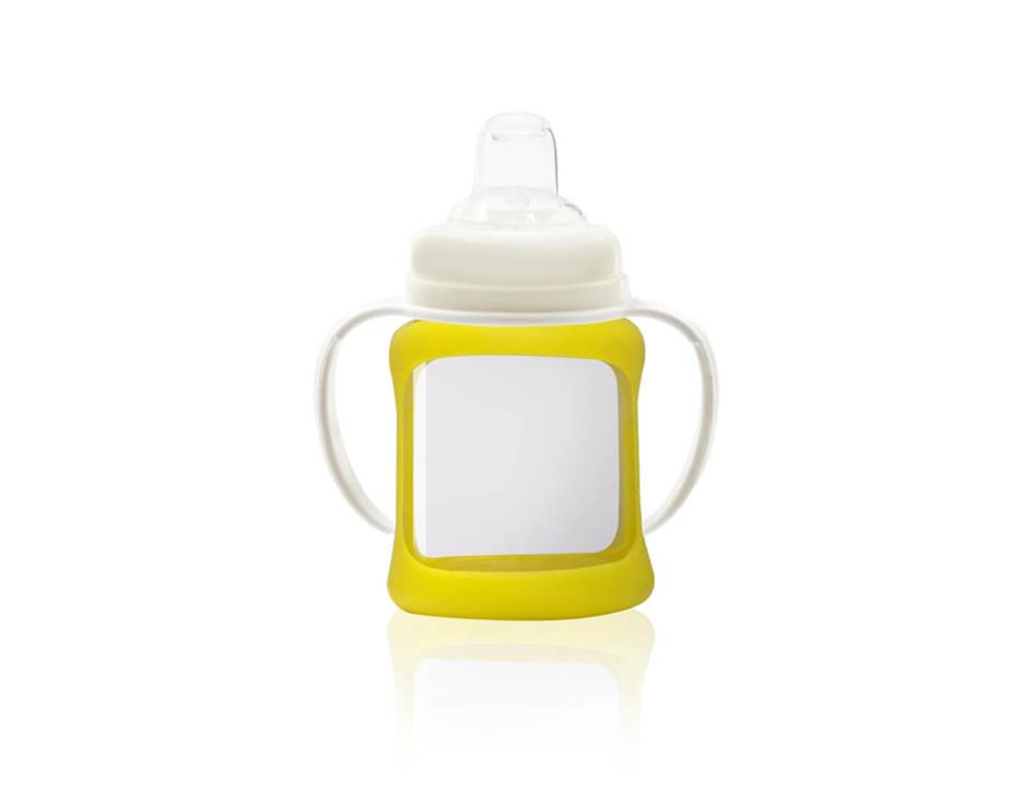 Image of Wide Neck Glass Sippy Cup with Colour Change Sleeve 150ml - Yellow