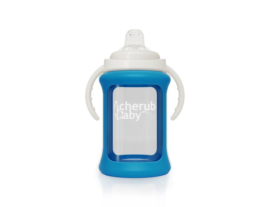 Image of Wide Neck Glass Sippy Cup with Colour Change Sleeve 240ml - Blue