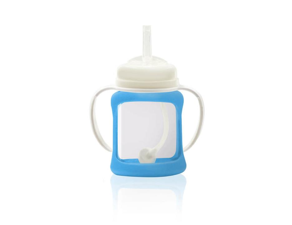 Image of Wide Neck Glass Straw Cup with Colour Change Sleeve 150ml - Blue