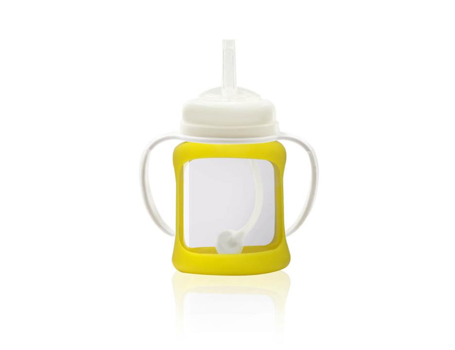 Image of Wide Neck Glass Straw Cup with Colour Change Sleeve 150ml - Yellow