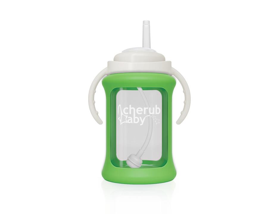 Image of Wide Neck Glass Straw Cup with Colour Change Sleeve 240ml - Green