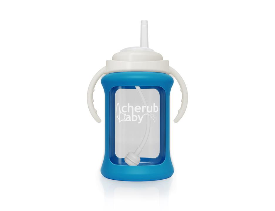 Image of Wide Neck Glass Straw Cup with Colour Change Sleeve 240ml - Blue