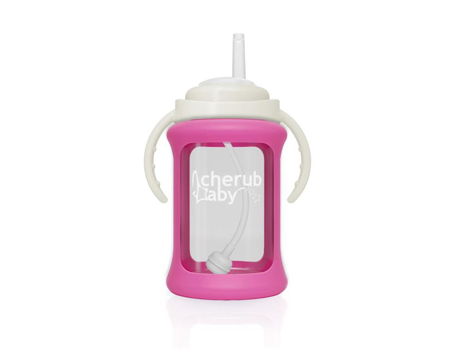 Image of Wide Neck Glass Straw Cup with Colour Change Sleeve 240ml - Pink