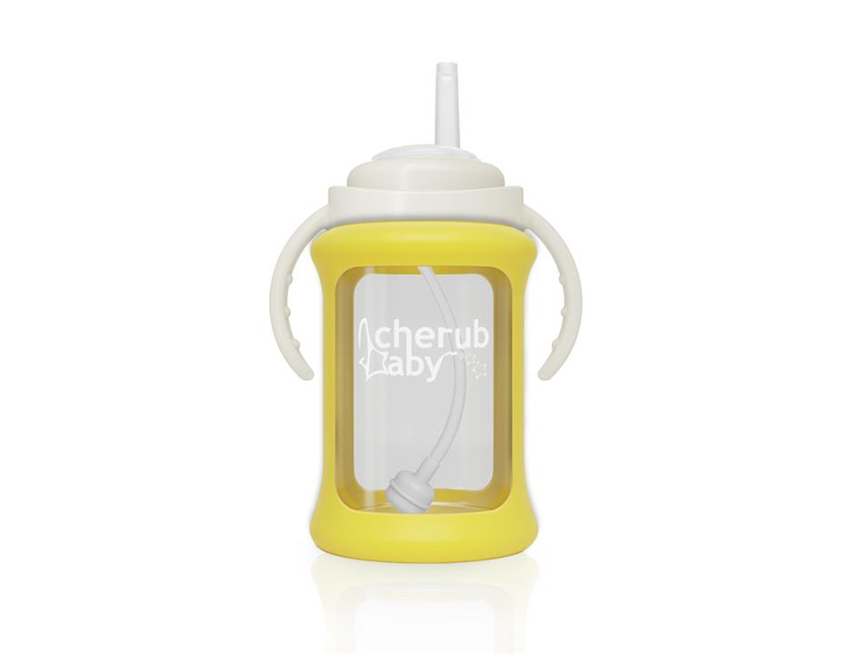Image of Wide Neck Glass Straw Cup with Colour Change Sleeve 240ml - Yellow