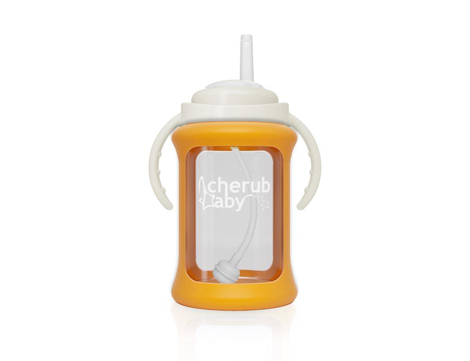 Image of Wide Neck Glass Straw Cup with Colour Change Sleeve 240ml - Orange