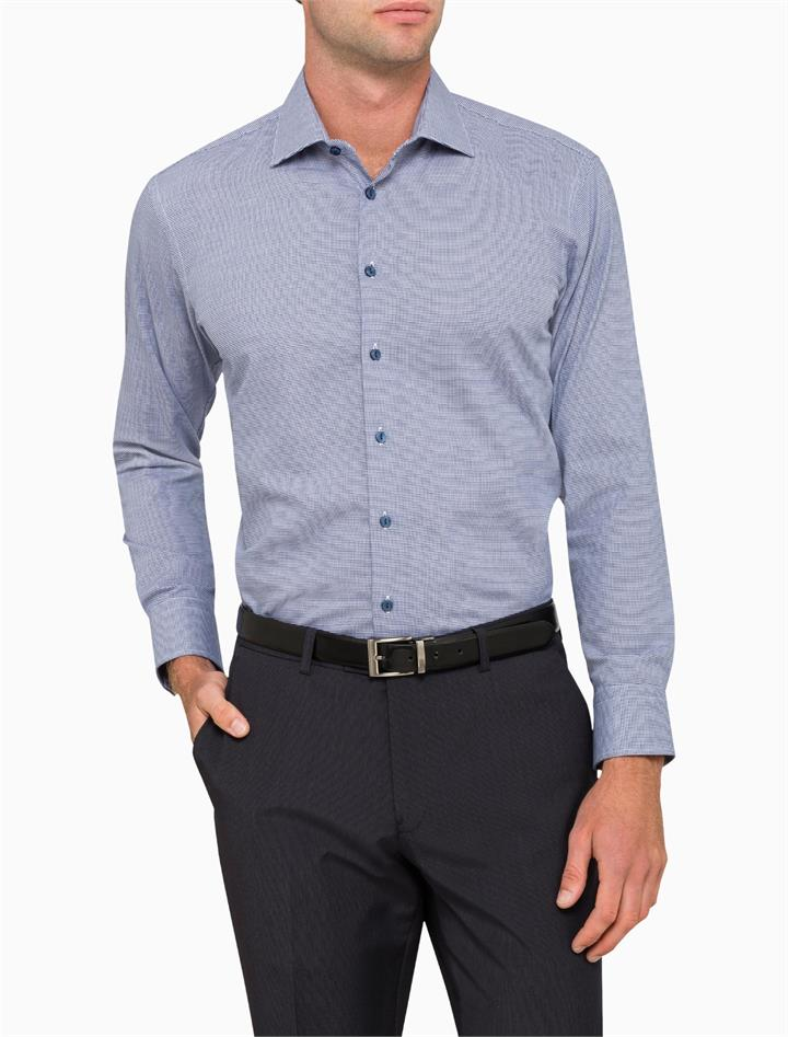 Business Shirt Navy Micro Check