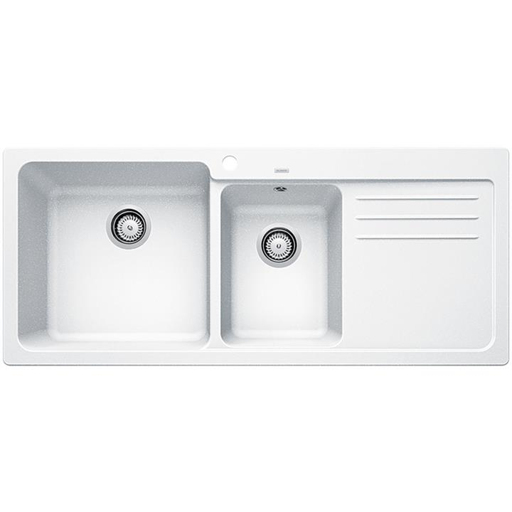 Image of Blanco Double Bowl Sink with DrainerWhite