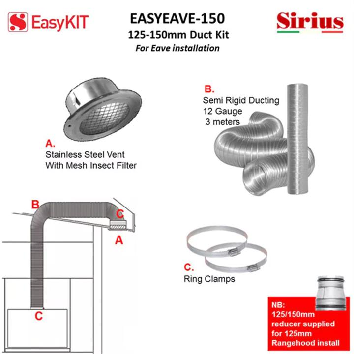 Image of Sirius 125-150mm Under Eave Ducting Kit