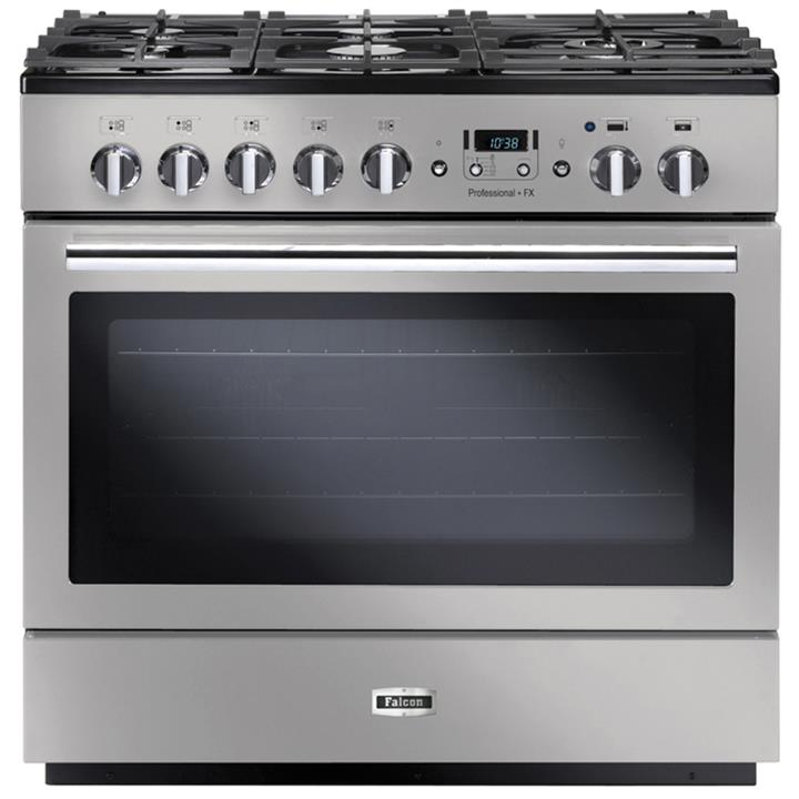 Image of Falcon Professional+ FXP 90cm Pyrolitic Dual Fuel Upright CookerCHStainless Steel/Chrome