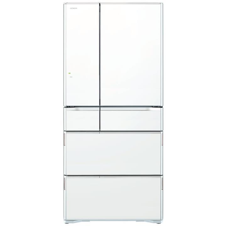 Image of Hitachi 615L White Glass Finish French Door Fridge