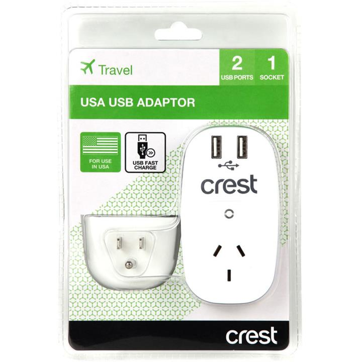 Image of Crest USA Adaptor with USB Charging