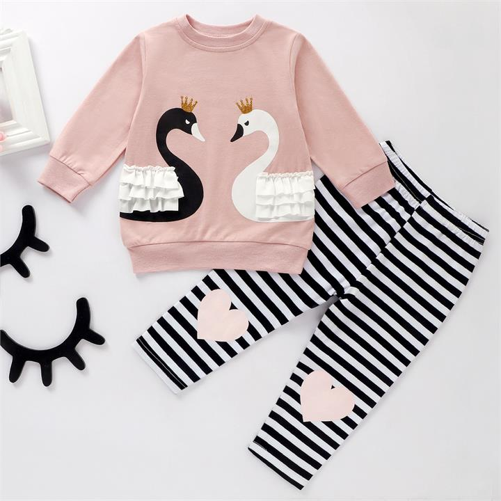 Baby Soft Swan Print Long Sleeve Top and Striped Pants Set