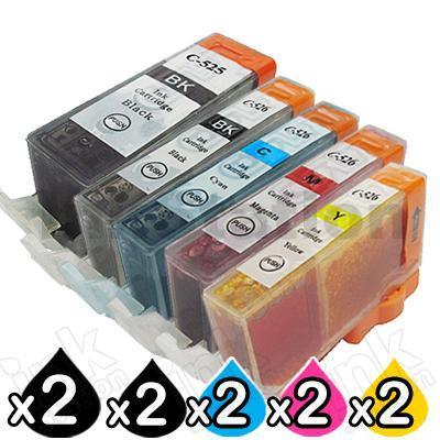 10-Pack Canon PGI-525, CLI-526 Compatible Inkjet (with Chip) [2BK,2PBK,2C,2M,2Y]