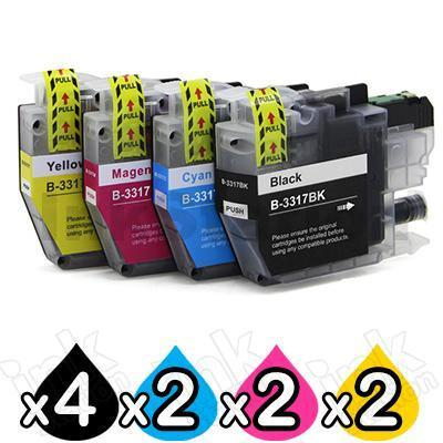 10 Pack Brother LC-3317 Compatible Ink Cartridges Combo [4BK, 2C, 2M, 2Y]