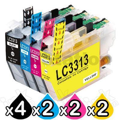 10 Pack Brother LC-3313 Compatible Ink Cartridges Combo (High Yield of Brother LC-3311) [4BK, 2C, 2M, 2Y]