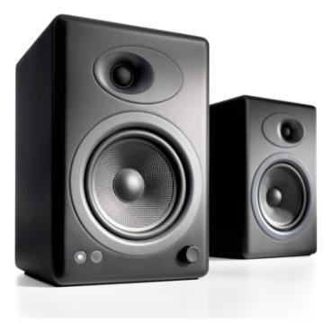 Image of Audioengine 5+ Powered Bookshelf Speakers - Satin Black
