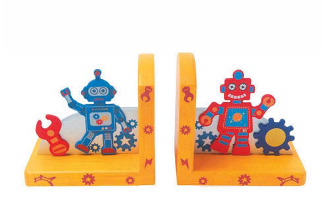 Image of Wooden Robot Bookend