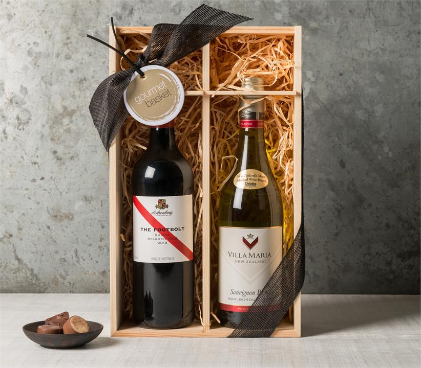 Image of Wine Duo in Wooden Case