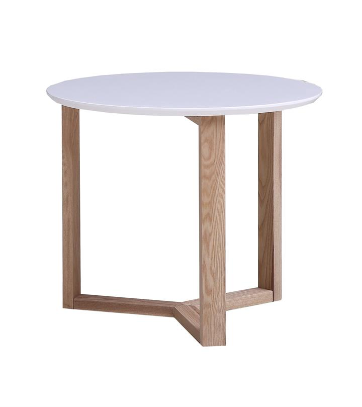 Aura Round Lamp Side Table White Top With Natural Legs