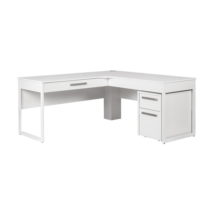 Ashley Collection L-Shaped Manager Office Desk With 2 Drawer Pedestral - White