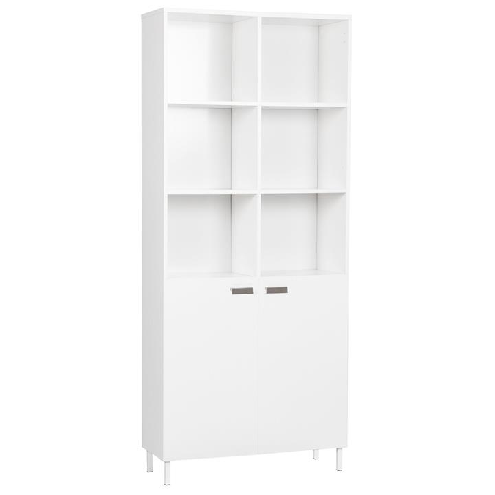 Ashley Collection 10-Cube Display Bookcase With 2-Doors - White