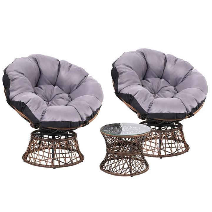 Gardeon Papasan Chair and Side Table Set-Brown