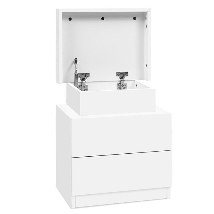 Bedside Tables 2 Drawers Side Table Storage Nightstand White Bedroom Wood