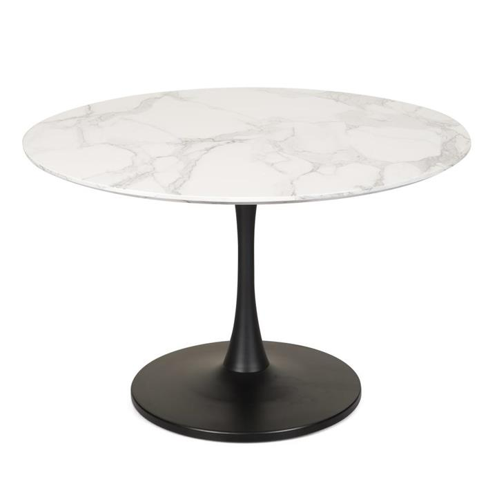 Cecil Round Dining Table Marble Effect 120cm - Matte Black Frame - White Sevella