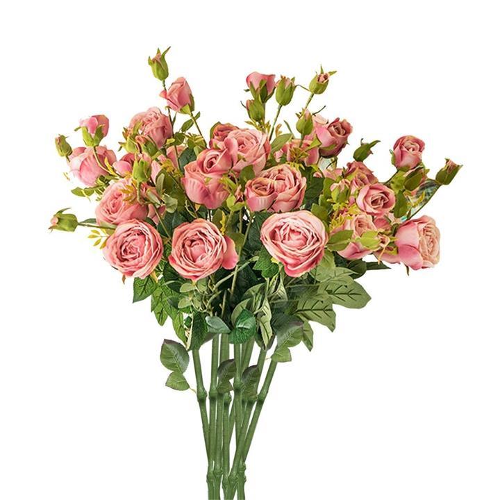 10 Bunch Artificial Silk Rose 6 Heads Flower Fake Bridal Bouquet Table Decor Pink