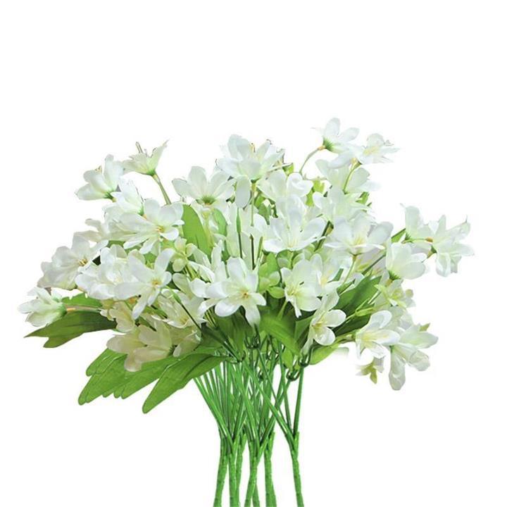 10 Bunch Artificial Silk Lilium nanum 6 Heads Flower Fake Bridal Bouquet Table Decor White