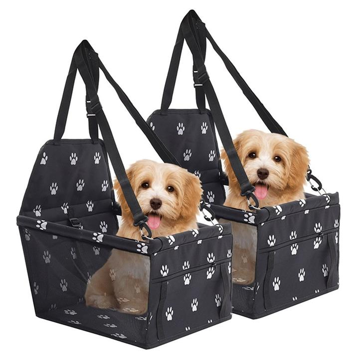 2X Waterproof Pet Booster Car Seat Breathable Mesh Safety Travel Portable Dog Carrier Bag Black