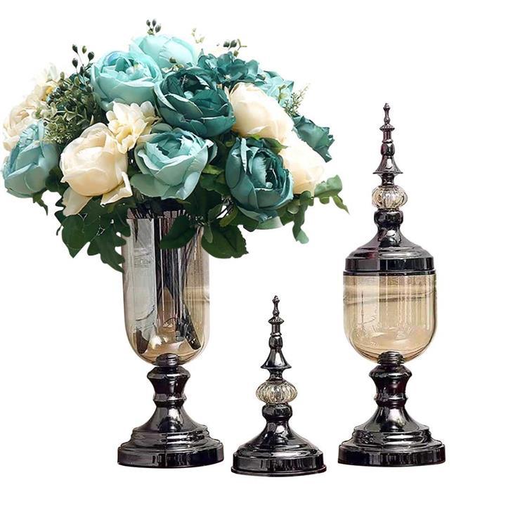 2X Clear Glass Flower Vase with Lid and Blue Flower Filler Vase Black Set