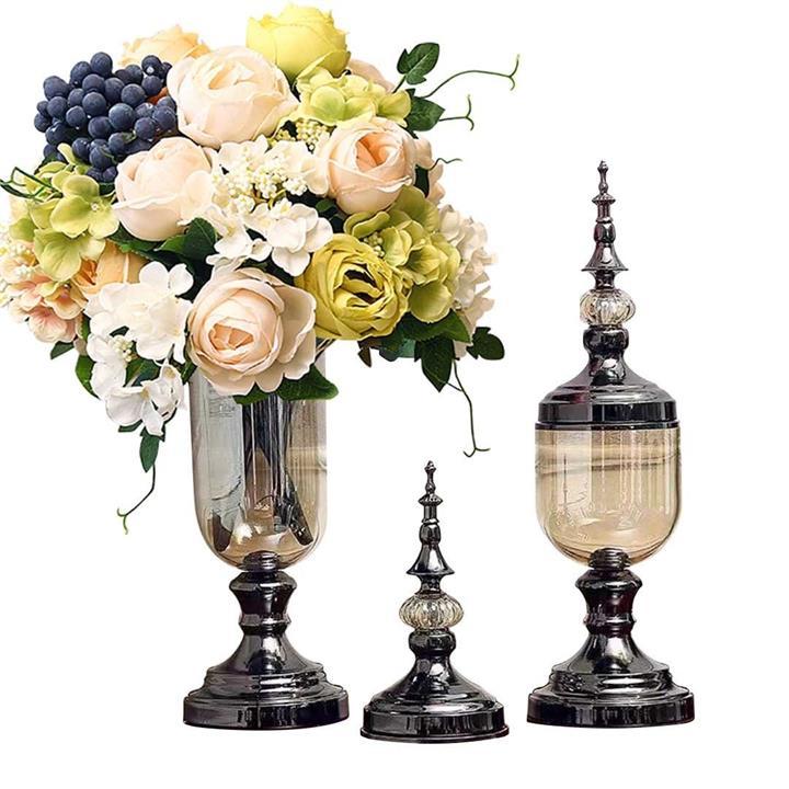 2X Clear Glass Flower Vase with Lid and White Flower Filler Vase Black Set