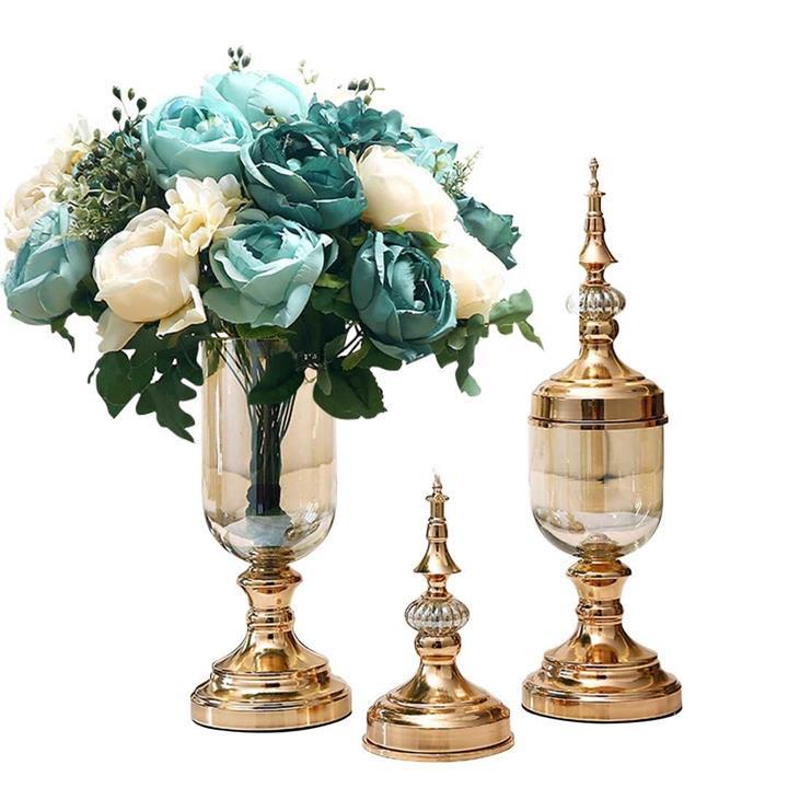 2X Clear Glass Flower Vase with Lid and Blue Flower Filler Vase Gold Set