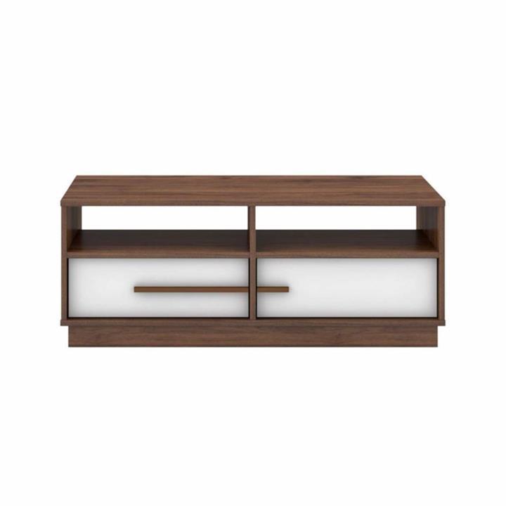 Cecilia Modern Scandinavian Open Shelves Coffee Table W/ 2-Drawers – Columbia/White