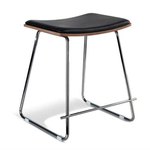 Set of 2 - Yvonne Potter Replica Y Porter Nordberg Low Stool 45cm - Chrome Frame - Natural Veneer - Black Cushion Seat