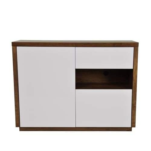 Sharon Sideboard Buffet Unit - Antique Oak / High Gloss White