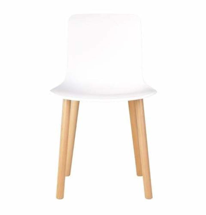 Set of 4 - Jasper Morrison Replica Hal Dining Chair Replica - Natural Legs - White