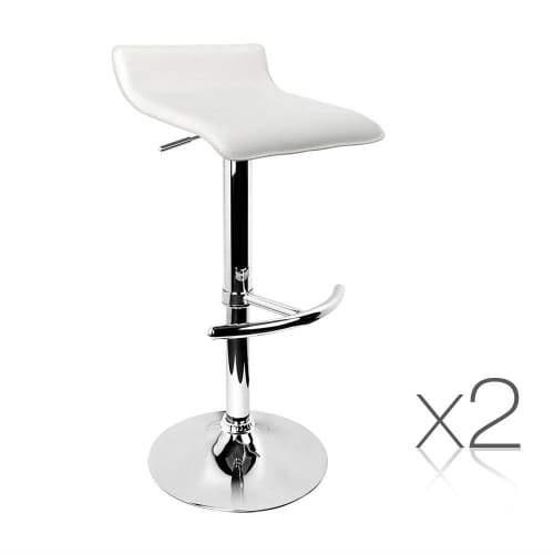 Set of 2 PVC Leather Kitchen Bar Stool White