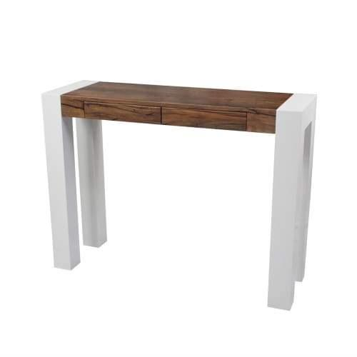 Odyssey Hall Console Table 1.2m - Antique Oak / High Gloss White