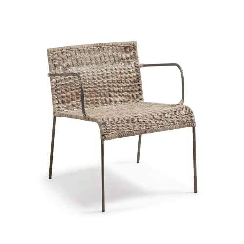 Edmond Indoor/Outdoor Armchair - Metal Legs - Natural Rattan