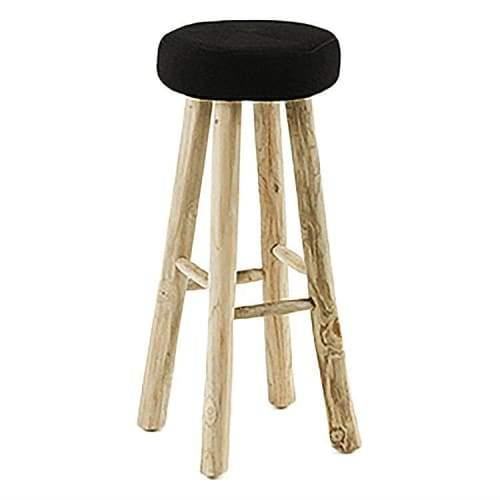 Conrado Bar Stool - Teak Wood Legs - Black Fabric