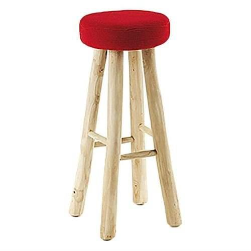 Conrado Bar Stool - Teak Wood Legs - Red Fabric