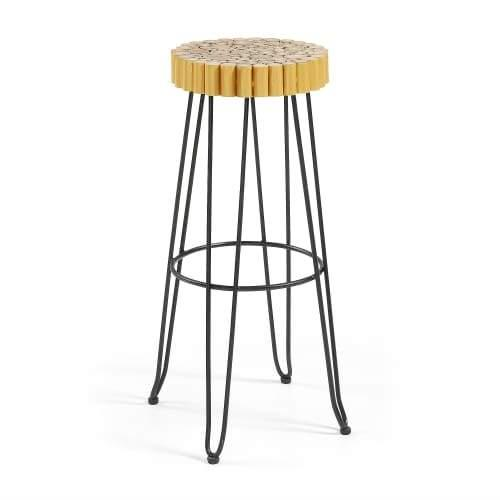 Chelo Bar stool - Black Metal Legs - Natural Seat