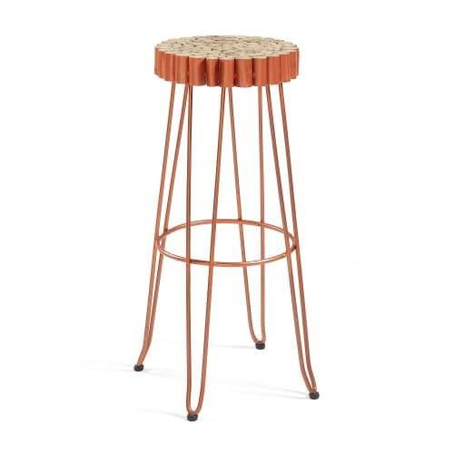 Chelo Bar stool - Copper Metal Legs - Natural Seat
