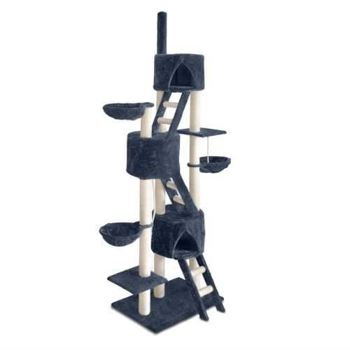 Multi Level Cat Scratching Poles Tree - Ladder - Grey