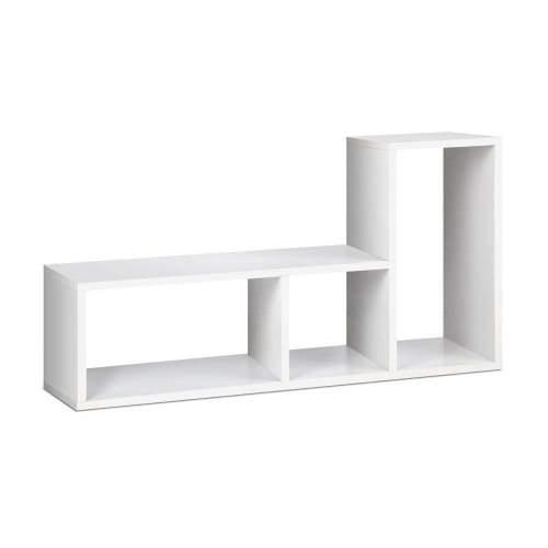 L-Shaped Low Bookcase Display Shelf - White