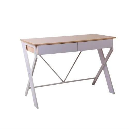 Xaxa Study Computer Writing Office Table Desk With Drawer - White & Oak Top