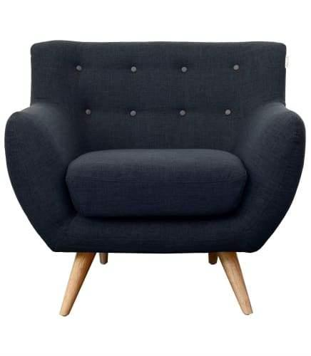 6IXTY 1-Seater Armchair - Grey Buttons - Slate