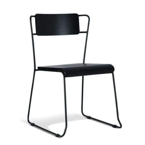 Bavleen Dining Chair - Black Frame - Black Veneer Seat